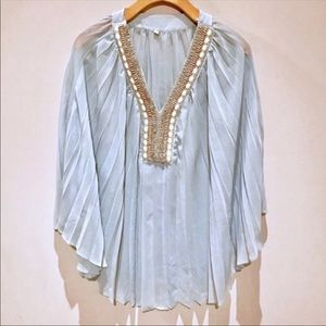 Willow and Clay Pleated Embellished Top